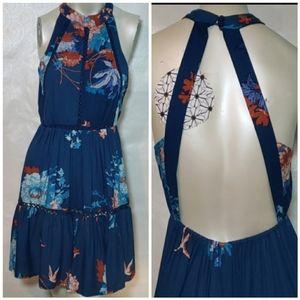 Anthro Jaase Boho Open Back Halter Floral Dress XS